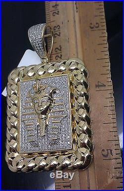 10K 30 Inch Men Yellow Gold Miami Cuban Chain &10K 1.10CT Pharoah Charm Pendent
