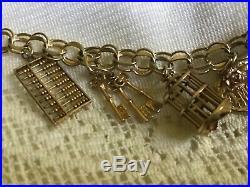 10K Charm Bracelet I 14k Keys Charm 5 Gold Tone Charms Needs TLC