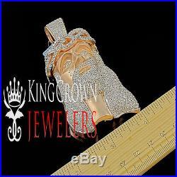 10K Rose Gold On Silver Lab Diamond Big XL Jesus Face Custom Piece Pendant Charm