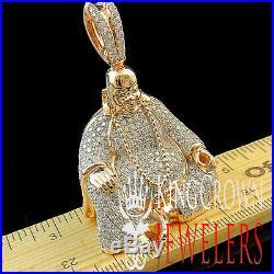 10K Rose Gold On Silver Lab Diamond Buddha Pendant Round Pave Meditation Charm