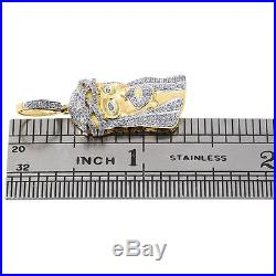 10K Yellow Gold Diamond Mini Jesus Face Piece Pendant 1.30 Pave Charm 0.75 ct
