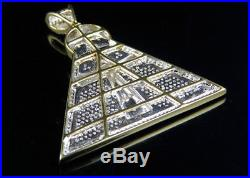 10K Yellow Gold Egyptian Pyramid Ankh Cross Genuine Diamond Charm Pendant 1.15ct