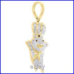 10K Yellow Gold Genuine Diamond Doughboy Pendant 1.55 Mens Pave Charm 0.44 CT