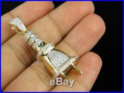10K Yellow Gold Plug Socket Fuse 2 Inch Genuine Diamond Pendant Charm 0.75ct