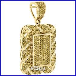 10K Yellow Gold Real Diamond Rope Border Square Pillow Pendant Charm 1.06 CT