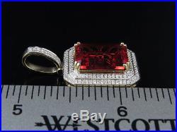 10K Yellow Gold Royal Red Ruby Genuine Diamond Charm Pendant 1.1.65Ct