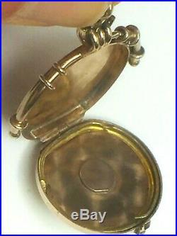 10K gold tone mid-century ornate fob locket charm pendant. 5.0gm