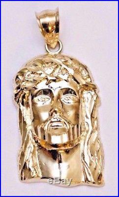 10k Gold Diamond Cut JESUS FACE HEAD Pendant Charm