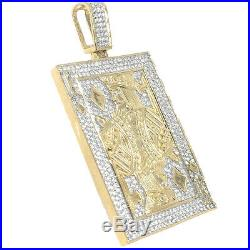 10k Yellow Gold Tone Pure Sterling Silver King Poker Playing Card Charm Pendant