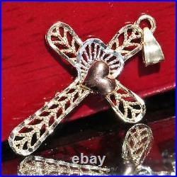10k multi-tone gold cross and heart diamond cut pendant charm vintage handmade