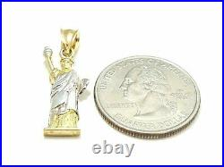 10k two-tone gold statue of liberty pendant charm fine gift jewelry unisex 2.3g