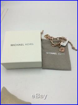 $125 Michael Kors Rose Gold-Tone Pave Logo Heart Charm Toggle Bracelet #236
