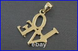 14K Solid Yellow Gold Two Tone Polished 0.75 Beautiful Love Charm Pendant
