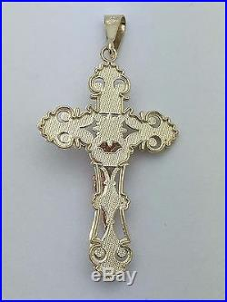 14K Two Tone Gold Jesus Christ Crucifix Cross Charm Pendant Available in 2 Sizes