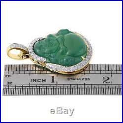 14K Yellow Gold Diamond Fat Bald Buddha Budai Pu-Tai Pendant Mens Charm 1.02 Ct