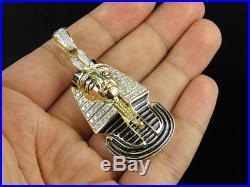14K Yellow Gold Egyptian Pharaoh Black Enamel 2.5 Diamond Pendant Charm 1.0ct