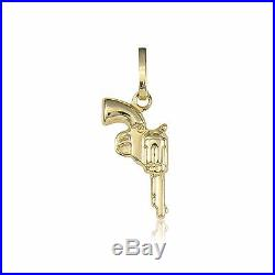 14K Yellow Gold Pistol Gun Pendant Revolver Hand Polish Necklace Charm Men Women