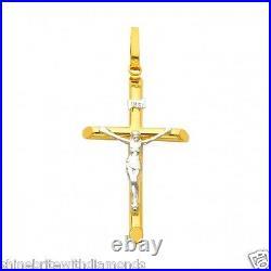 14k 2 Two Tone Solid Yellow White Gold Cross Jesus Crucifix Charm Pendant Medium