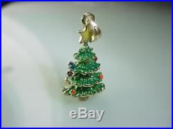 14k GOLD 3D CHRISTMAS TREE ENAMEL CHARM PENDANT 14KT