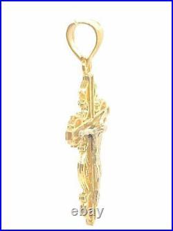 14k Two Tone Gold Jesus Christ Crucifix Filigree Cross Charm Pendant 1.8 grams