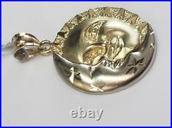 14k Two Tone Gold Sun And Crescent Moon Charm Pendant 3.9 Grams