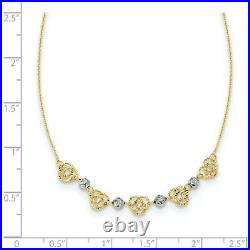 14k Two Tone Yellow Gold Beads Knots Chain Necklace Pendant Charm Bead Station