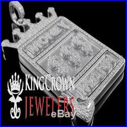 14k White Gold Tone Real Sterling Silver Money Man $ Dollar Charm Pendant Men's