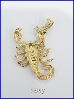 14k Yellow Gold Scorpion Insect Animal Hollow Pendant Charm 20 Inch Figaro Chain