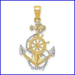 14k Yellow Gold Two Tone Nautical Anchor Ship Wheel Mariners Rope Pendant Charm