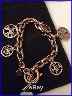 $185 Michael Kors Rose Gold-Tone Heritage Monogram Charm Bracelet #244