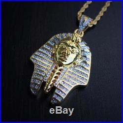 18K Gold Pharaoh King Tut Egyptian Pendant Charm 24 Rope Chain Necklace
