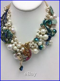 $195 Betsey Johnson Glitter Reef Gold Tone Mermaid & Sea Shell Necklace BB210