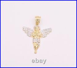 1 1/2 Men's Two Tone Baby Angel Pendant Charm Real 10K Yellow White Gold
