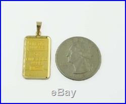 24k Fine Gold Credit Suisse 5gram Bullion Ingot 14kt Framed Charm/Pendant 5g
