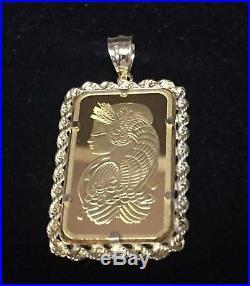 24k Fine Gold Suisse 20gram Bullion Ingot 14kt Rope Framed Charm/Pendant