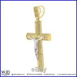 2Ct Created Diamond Jesus Crucifix Cross Charm Pendant Two-Tone Solid 14K Gold