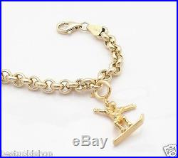 5mm Heavy Duty Round Rolo Chain Charm Bracelet Real 14K Yellow Gold FREE SHIP