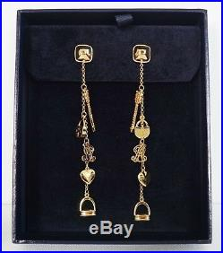 $695 New Authentic RALPH LAUREN COLLECTION Gold-Tone CHARM Drop Dangle Earrings