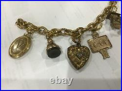 7 Victorian Edwardian Antique Lockets Fobs Charm Thick Linked 7 Bracelet