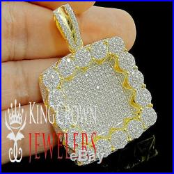925 Sterling Silver Heavy Cluster Designer Dog Tag Style Pendant Gold Tone Charm