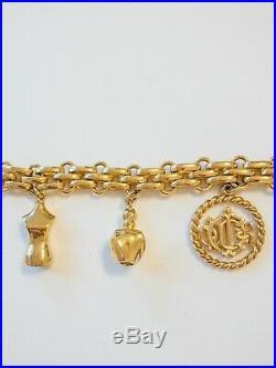 AUTHENTIC CHRISTIAN DIOR Poison GOLD TONE ICONIC CHARMS BRACELET VINTAGE