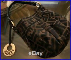AUTHENTIC FENDI chef hat baguette signature zucca bag, gold tone Fendi charm