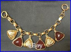 AUTH CHANEL CC Logo Chain Charm Bracelet Gold Tone Bordeaux Glass Stone 8.5