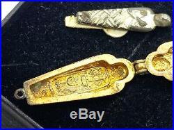 Antique Egyptian Gold Tone Enamel Opening Sarcophagus Mummy Charm Pendant