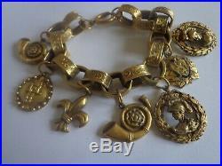 Antique Victorian Art Nouveau Etruscan Gold Tone Charm Bracelet Book Chain Rare