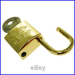 Auth CHANEL CC Bag Charm Key Bell Patent Leather Gold-tone Accessory 63KA039