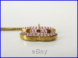 Auth CHANEL CC Charm Necklace 02P Pink Gold-tone France 18583305