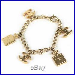 Auth CHANEL Chain Bracelet 02A Gold tone CC logo No. 5 bottle charm #14115