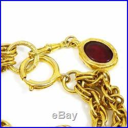Auth CHANEL Gold-tone Rhinestones Colored Stones Double Chain Bracelet G1959