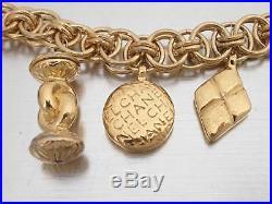 Auth CHANEL Mademoiselle Charm Chain Bracelet Bangle Goldtone Metal e39323